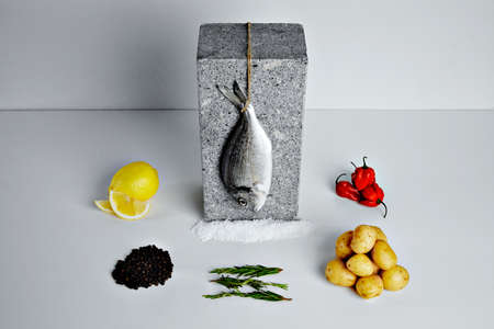 dorada: Dorada fish with aromatic herbs, spices and vegetables - healthy food, diet or cooking concept top view