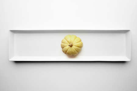 harvest background: Yellow pumpkin isolated in center of ceramic rectangular plate on white background