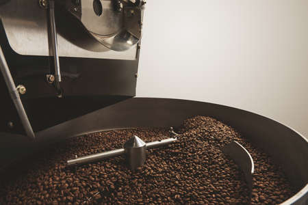 cool down: Hot freshly baked aromatic and dark coffee beans in the best professional roasting machine twisting to cool down Industrial concept Close focus LANG_EVOIMAGES