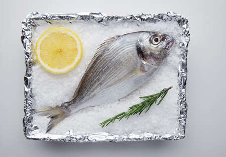 sparus: Presentation of fresh wild sea bream in foil metallic paper filled with stone salt grains with lemon circle slice and rosemary spice herb, ready to grill and cook. Top view, isolated on white table
