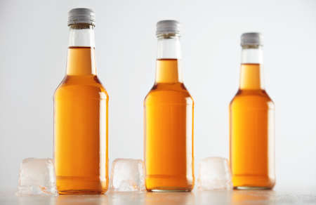 unlabeled: Unlabeled rustic bottles sealed with tasty cold drink inside presented next big ice cubes, isolated on white, retail mockup presentation LANG_EVOIMAGES