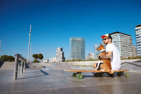 trucker: Surfer in trucker hat sits on his longboard skate hugging his basenji dog in empty morning skate park pool and looking on side Backview LANG_EVOIMAGES