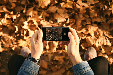 Man wearing denim jacket takes a picture of autumn leaves on his smartphone, close up shot LANG_EVOIMAGES