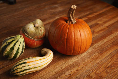 Mixed different pumpkins isolated on wooden table on side