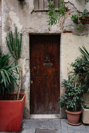 Front view on old house with plants in pots on facade and rustic brown wooden door.