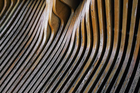 Close up view on wooden striped shabby bench Standard-Bild
