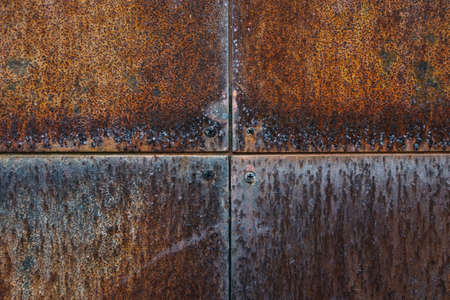 Texture of metal rusty wall with screws background, close up view Standard-Bild