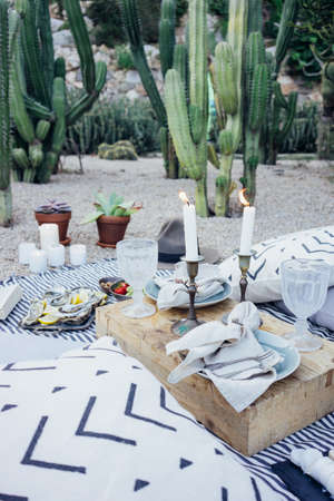 View of perfect romantic date setup in cactus park, with candle light and wood tray full of delicious snacks, oysters, grapes and strawberries, dream couple love life