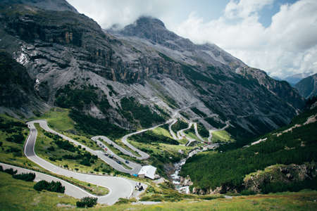 Epic and mesmerizing beautiful road pass high in mountains with tunnels and bridges, dangerous switchbacks and hairpin turns, amazing landscape of mountains