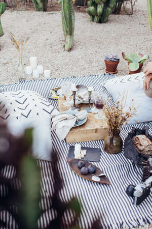 Still life of romantic picnic setup in park, for surprise birthday party, date or engagement location, candles and exquisite luxurious snacks to create atmosphere of chic