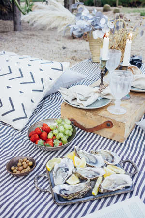 Creative arrangement for romantic surprise picnic with delicious exotic snacks, oysters and strawberries, candles, book, for proposal or wedding day, perfect couple Standard-Bild