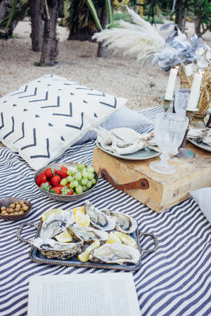 Creative arrangement for romantic surprise picnic with delicious exotic snacks, oysters and strawberries, candles, book, for proposal or wedding day, perfect couple Фото со стока