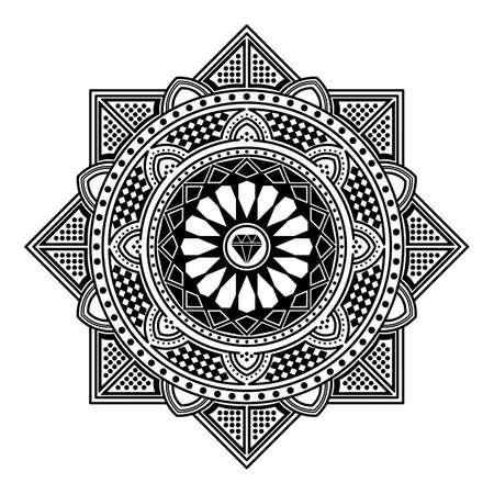 Adorno redondo decorativo Mandala. Puede usarse para tarjetas de felicitación, impresión de carcasas de teléfonos, etc. Fondo dibujado a mano