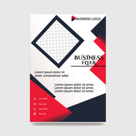 Blue Flyer Template Layout Design. Corporate Business Flyer, Brochure, Annual Report, Catalog, Magazine Mock up. Creative Modern Bright Flyer Concept with Square Shapes 일러스트