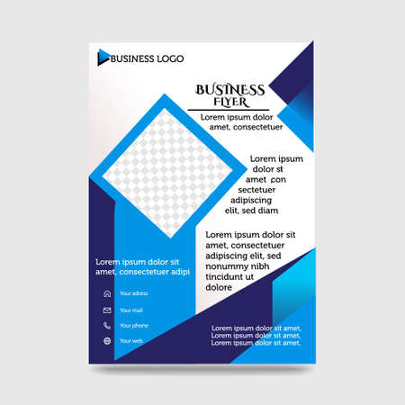 Blue Flyer Template Layout Design. Corporate Business Flyer, Brochure, Annual Report, Catalog, Magazine Mock up. Creative Modern Bright Flyer Concept with Square Shapes Illusztráció
