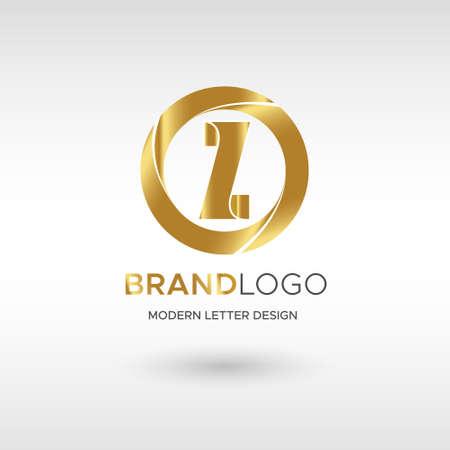 Premium Vector Z Logo in GOLD. Beautiful Logotype design for company branding. Elegant identity design in blue