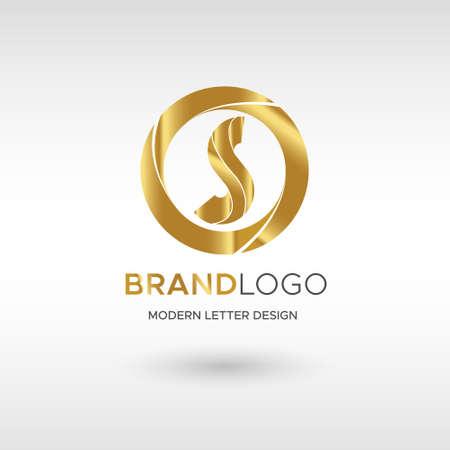 Premium Vector S Logo in GOLD. Beautiful Logotype design for company branding. Elegant identity design in blue