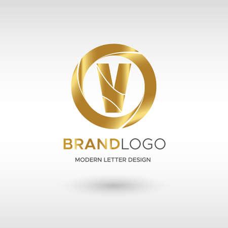 Premium Vector V Logo in GOLD. Beautiful Logotype design for company branding. Elegant identity design in blue