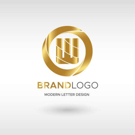 Premium Vector W Logo in GOLD. Beautiful Logotype design for company branding. Elegant identity design in blue