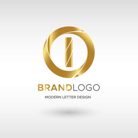 Premium Vector I Logo in GOLD. Beautiful Logotype design for company branding. Elegant identity design in blue