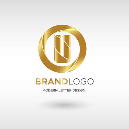 Premium Vector U Logo in GOLD. Beautiful Logotype design for company branding. Elegant identity design in blue