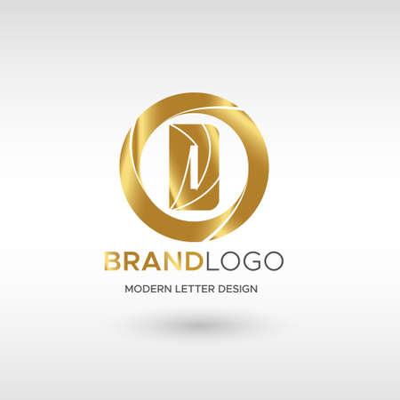 Premium Vector D Logo in GOLD. Beautiful Logotype design for company branding. Elegant identity design in blue Illusztráció