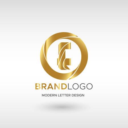 Premium Vector E Logo in GOLD. Beautiful Logotype design for company branding. Elegant identity design in blue