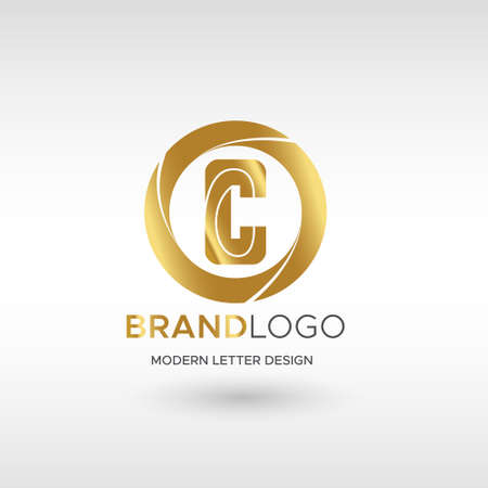 Premium Vector C Logo in GOLD. Beautiful Logotype design for company branding. Elegant identity design in blue