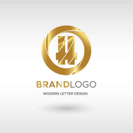 Premium Vector H Logo in GOLD. Beautiful Logotype design for company branding. Elegant identity design in blue
