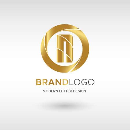 Premium Vector N Logo in GOLD. Beautiful Logotype design for company branding. Elegant identity design in blue Illusztráció