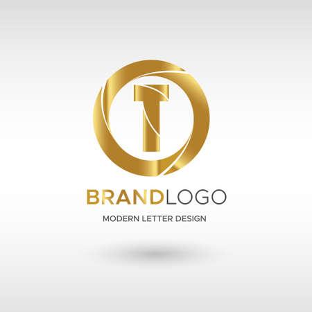 Premium Vector T Logo in GOLD. Beautiful Logotype design for company branding. Elegant identity design in blue