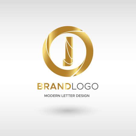 Premium Vector J Logo in GOLD. Beautiful Logotype design for company branding. Elegant identity design in blue