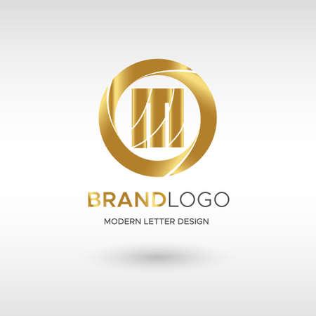 Premium Vector M Logo in GOLD. Beautiful Logotype design for company branding. Elegant identity design in blue