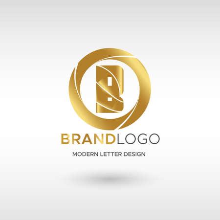 Premium Vector B Logo in GOLD. Beautiful Logotype design for company branding. Elegant identity design in blue