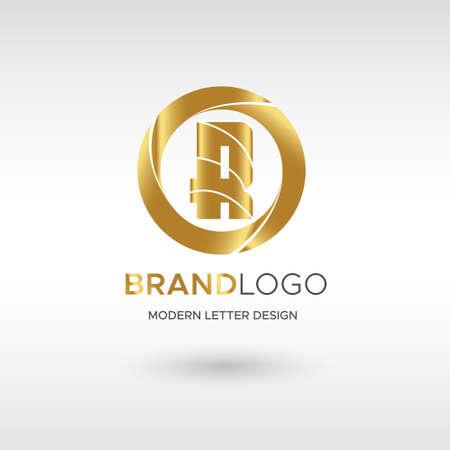 Premium Vector R Logo in GOLD. Beautiful Logotype design for company branding. Elegant identity design in blue
