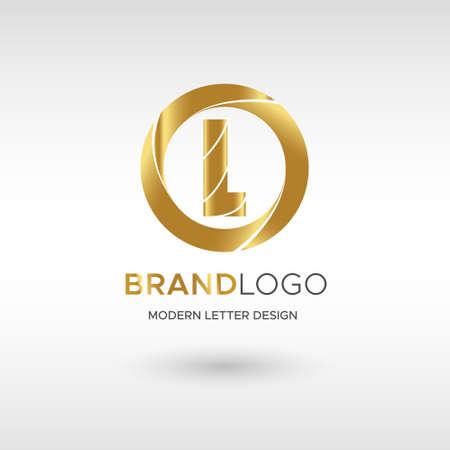Premium Vector L Logo in GOLD. Beautiful Logotype design for company branding. Elegant identity design in blue