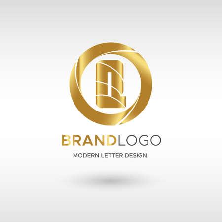 Premium Vector Q Logo in GOLD. Beautiful Logotype design for company branding. Elegant identity design in blue Illusztráció