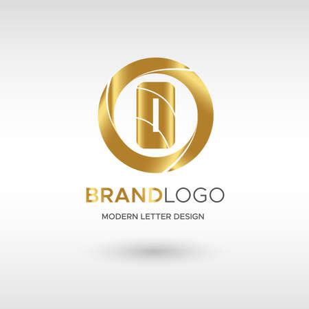 Premium Vector O Logo in GOLD. Beautiful Logotype design for company branding. Elegant identity design in blue Illusztráció