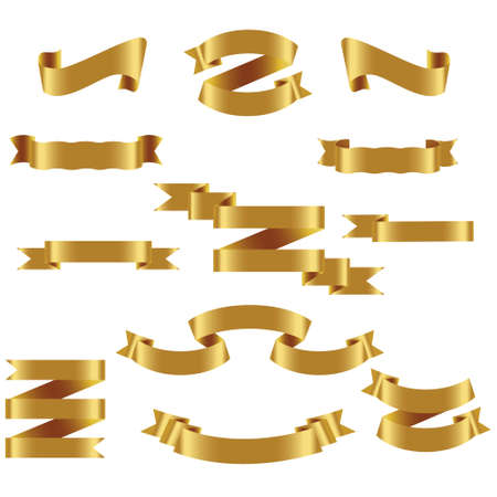 Gold Ribbon Set In Isolated White Background, Vector Illustration. Gold Ribbon Set In Isolated White Background, Vector Illustration
