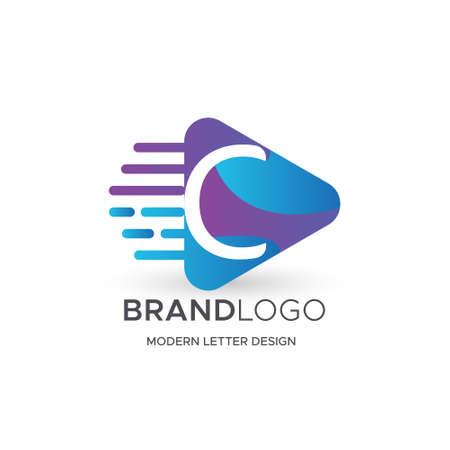 Premium Vector C Logo in Gradation color variations. Beautiful Logotype design for luxury company branding. Elegant identity design in blue
