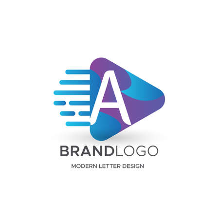 Premium Vector A Logo in Gradation color variations. Beautiful Logotype design for luxury company branding. Elegant identity design in blue