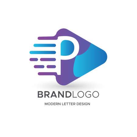 Premium Vector P Logo in Gradation color variations. Beautiful Logotype design for luxury company branding. Elegant identity design in blue Ilustração