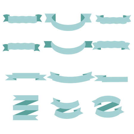 Blue Pastel Ribbon Set In Isolated White Background, Vector Illustration. Gold Ribbon Set In Isolated White Background, Vector Illustration