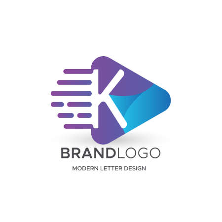 Premium Vector K Logo in Gradation color variations. Beautiful Logotype design for luxury company branding. Elegant identity design in blue