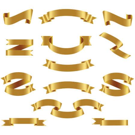 Gold Ribbon Set In Isolierten Weißen Hintergrund, Vektor-Illustration. Goldband, Satz, In, Freigestellt, Weißer Hintergrund, Vektor, Illustration