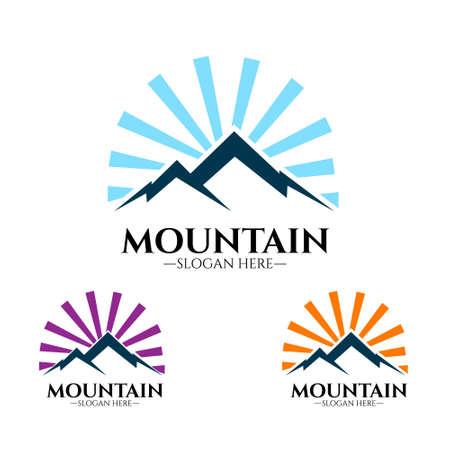 Mountains logo illustration, outdoor adventure. Illustration Peak, hill or expedition logo