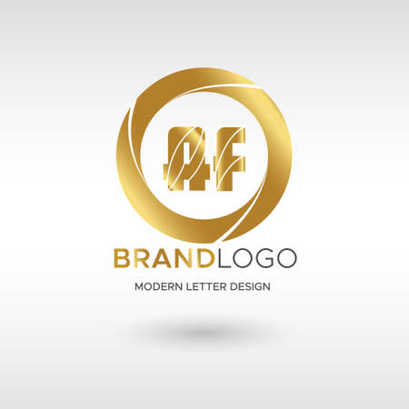 Premium Vector AF Logo in GOLD. Beautiful Logotype design for company branding. Elegant identity design in GOLD