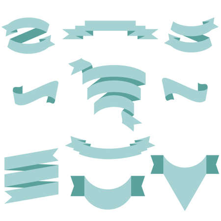 PASTEL Ribbon Set In Isolated For Celebration And Winner Award Banner White Background, Vector Illustration can use for anniversary, birthday, party, event, holiday And others.