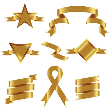 GOLD Ribbon Set In Isolated For Celebration And Winner Award Banner White Background, Vector Illustration can use for anniversary, birthday, party, event, holiday And others. Иллюстрация