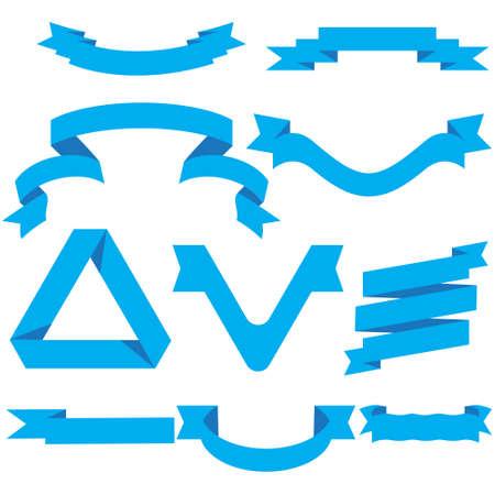 Blue Ribbon Set In Isolated For Celebration And Winner Award Banner White Background, Vector Illustration